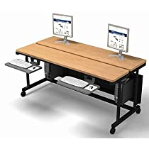 "Big Sale Best Cheap Deals Split Level Classroom Table 72"" x 33"" - Gray Frame, Gray Surface"