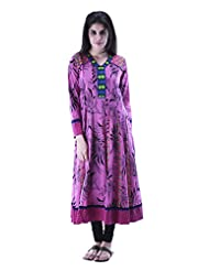 Aarr V-Neck Long Sleeve Printed Anarkali Kurta For Women