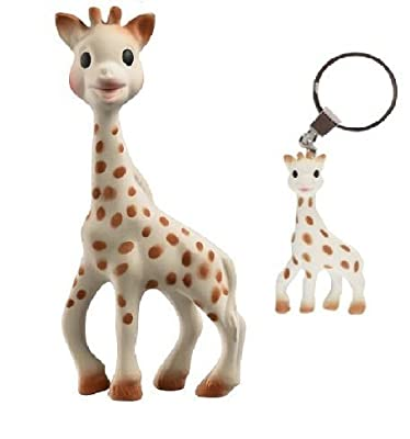 Sophie the Giraffe Teether and Sophie the Giraffe Keychain with Reusable Dainty Baby Bag Bundle from Vulli