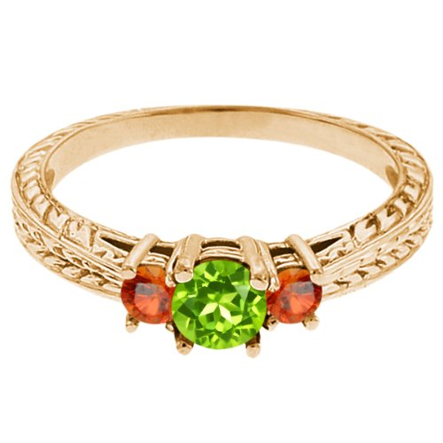0.56 Ct Round Green Peridot Orange Sapphire 14K Yellow Gold 3-Stone Ring