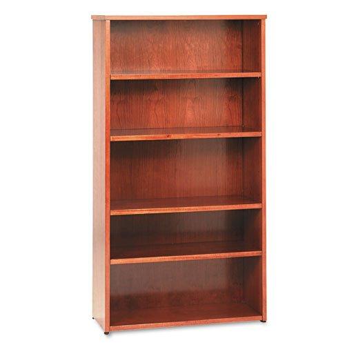 HON BW Wood Veneer Series Five-Shelf Bookcase, 35-5/8w x 13d x 66h, Bourbon Cherry - BMC-BSX BW2193HH Basyx 3 Shelf Bookcase