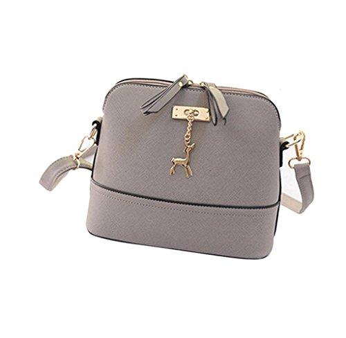 Handtaschen, Rcool Neuer Frauen-Kurier-Beutel-Weinlese -kleine Shell-Leder-Handtasche Umhängetasche (Grau)