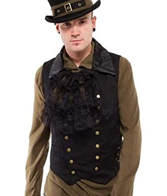 Steampunk Vests for Men | Men's Steampunk Clothing Altissimo Mens Double-Breasted Vest Waistcoat Brass Poppers & Chain. Sizes S-2XL $45.00 AT vintagedancer.com