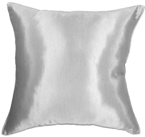 """Artiwa 16""""X16"""" Silk Couch Bed Decorative Throw Accent Pillow Cover : Solid Silver Grey front-508703"""