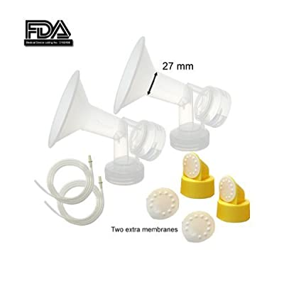 Maymom MyFit Breast Pump Kit for Medela Pump in Style Pumps; 2 Large One-piece 27mm Breastshields, 2 Valves, 4 Membranes, & 2 Pump-in-Style Tubing; Simple Wishes Bra Compatible and Medela Quick Clean, Micro Steam Bag Safe.
