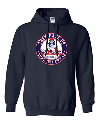 They Hate Us Cause They Ain't Us New England Football Parody DT Sweatshirt Hoodie (Medium, Navy Blue) (Us Navy Football compare prices)
