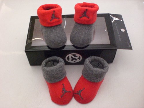 Nike Air Jordan Newborn Infant Baby Booties Gray and Red W/classic Jordan Air Jumpman Logo, Size 0-6 Months