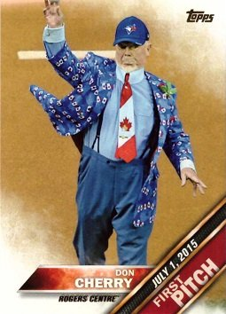 2016 Topps First Pitch #FP-3 Don Cherry Baseball Card - Hockey Broadcaster - Toronto Blue Jays