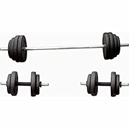 Durable Sunny Health and Fitness 100 lb Vinyl Weight Set NO. 061, (1)-piece Hollow Chromed Bar & (2)-piece Bar for Curls with Spinlock Collars