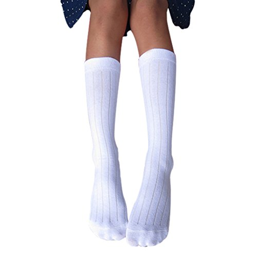 Weixinbuy Kids Cotton Tight Solid School Ankle/Knee Socks