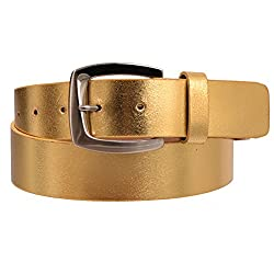 Women's Retrofuture Genuine Leather Fashion Belt Gold Large