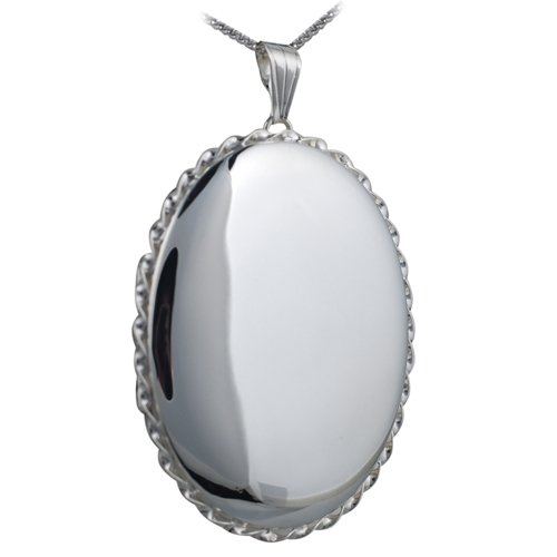 Silver 46x38mm plain twisted wire edge oval Locket with Curb chain 18 inches