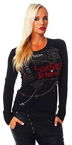 Scorpion Bay -  T-shirt - Basic - Collo a U - Maniche lunghe - Donna Nero  nero