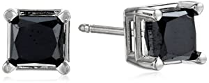 14k White Gold Princess-Cut Black Diamond Stud Earrings (1.50 cttw)