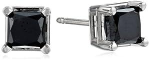 14k White Gold Princess-Cut Black Diamond Stud Earrings (1.50 cttw)