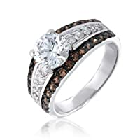 Bling Jewelry Pave Chocolate and Round CZ Engagement Ring by Bling Jewelry