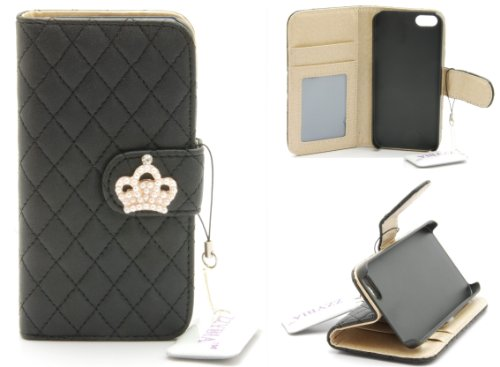 Zzybia® Ip5 Qc Leatherette Stand Case Card Holder Wallet With Screen Cleaning Pad For Apple Iphone 5 5S (Black)