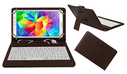 ACM PREMIUM USB KEYBOARD TABLET CASE HOLDER COVER FOR SAMSUNG GALAXY TAB S 8.4 With Free MICRO USB OTG - BROWN