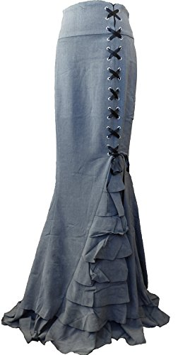 -Rainy Night in London- Gray Victorian Gothic Ruffle Steam punk Vintage Style Skirt (XL, Gray)