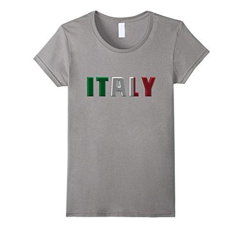 Women's ITALY - Italian Flag Colors Letters Souvenir T-shirt Medium Slate (Italian Flag Souvenir compare prices)