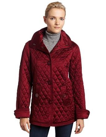 Jones New York Womens Button Down Coat, Deep Cranberry