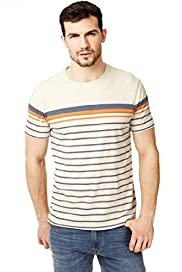 North Coast Pure Cotton Engineered Striped T-Shirt
