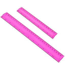 BCP set of 2 pcs Plastic Random Color Shatterproof Flexible Measuring Soft Ruler -- 8inches &12inches