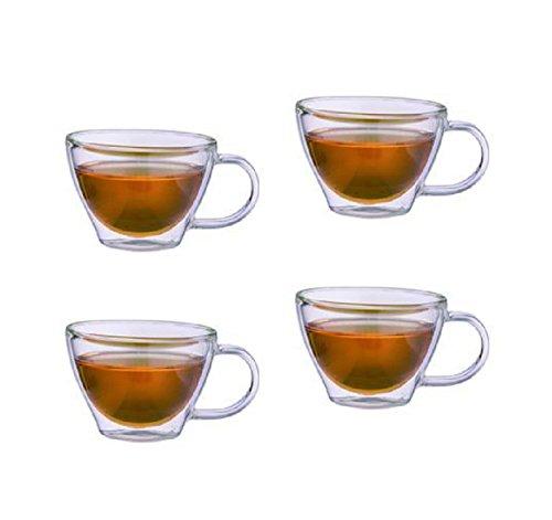 4er Set doppelwandige Teegläser Thermogläser mit Henkel (hochwertiges Borosilikatglas) 250 ml 4 Stück im Set