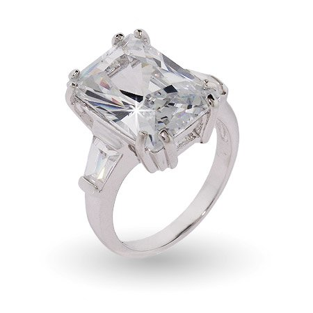 Sterling Silver Elegant Diamond CZ Engagement Ring Size 7 (Sizes 5 6 7 8 9 10 Available)