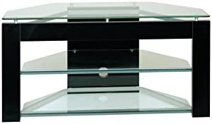 Planet 3 52-Inch Glass and Metal TV Stand, Black/Clear