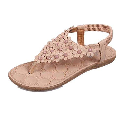 Fortan Scarpe Boemia dolce estate in rilievo dei sandali della punta della clip sandali della spiaggia (EU=38, Cachi)