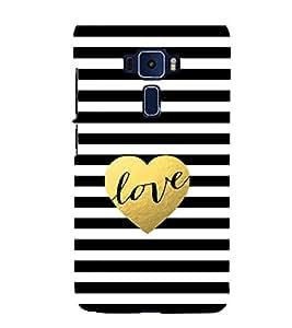 Love Black Stripes 3D Hard Polycarbonate Designer Back Case Cover for Asus Zenfone 3 Deluxe ZS570KL