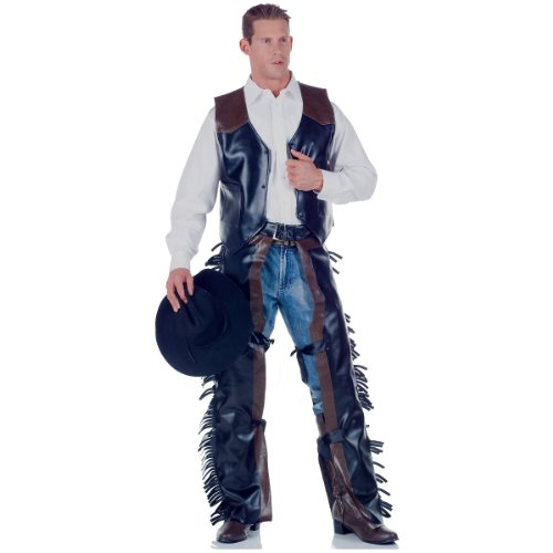 Underwraps Men's Cowboy, Black/Brown, One Size (Lone Cowboy Adult Costume)