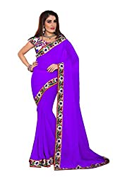 Fashion205 Women Chiffon Saree (TOK-AR7-1036-E_Purple_Purple_Free Size)