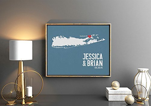 Long Island New York or ANY State Map Print with Couple's names wedding date and location (Party City Locations In Wisconsin)