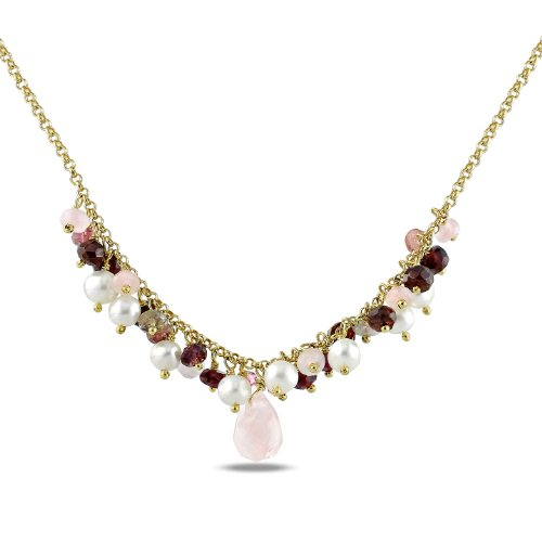 Freshwater White Pearl 12 CT TGW Multi-colored Multi-Gemstone Necklace (18 in)