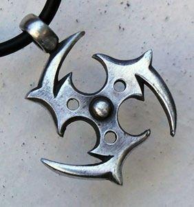 Amazon.com: Gothic Tomoe Fire Wheel Shuriken Pewter Pendant Choker
