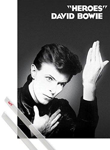 Poster + Sospensione : David Bowie Poster Stampa (91x61 cm) Heroes e Coppia di barre porta poster trasparente 1art1®