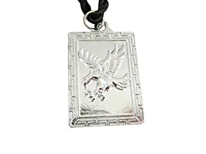 Cute Stainless Steel Mascot Iron Eagle Square Pendant Necklace