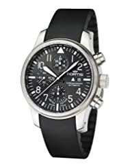 Fortis Men's 701.10.81 K F-43 Flieger Chronograph Black Automatic Chronograph Date Rubber Watch