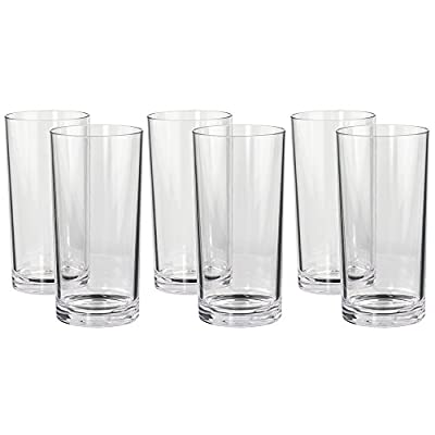 Classic Premium Quality Plastic 16oz Water Tumbler | Set of 6