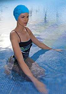 Fashy Rubber Textured Retro Design Swim Cap - BLUE - Made in Germany