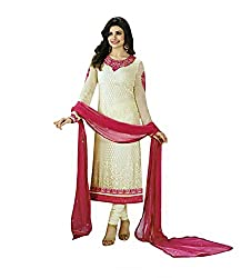 Rudra Textile Women's Prachi Desai Off White Brasso Churidar Suit