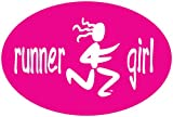 Pink Runner Girl Oval Magnet