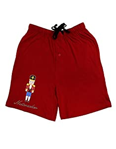 Nutcracker Design - Red Gold Black Text Adult Lounge Shorts - Red- Medium