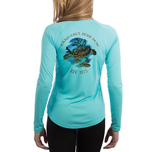 SAND.SALT.SURF.SUN. Women's Sea Turtle UPF Performance T-shirt Large Water Blue (Salt Life Womens Shirts compare prices)