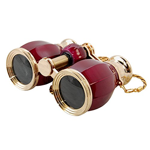 Hqrp Theater Glasses Binoculars Antique Style Burgundy Pearl With Gold Trim W/ Necklace Chain Plus Hqrp Uv Meter
