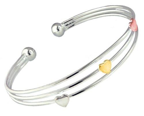 Silver 3 Rows Three-Colour Hearts Torque Bangle