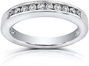 Channel Set Round Diamond Wedding Band 14 Carat ctw in 14K White Gold