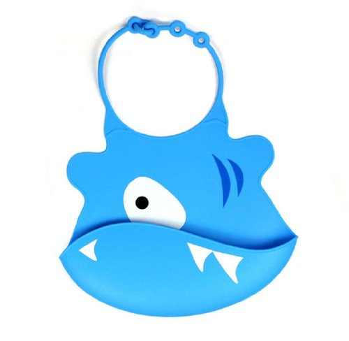Towallmark 1Pc Cartoon Skin Baby Bibs Eat Solid Convenience Health Silicone Waterproof Bib (Blue)